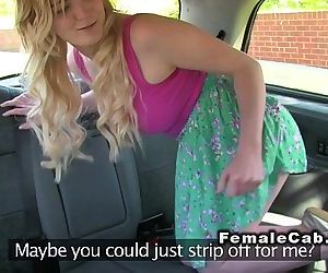 Female cab driver licks arse and..