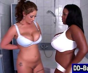 Lesbians soap each other up in..