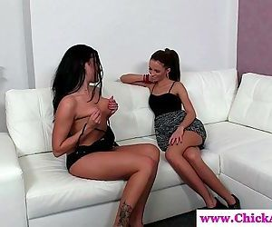 Lesbo casting babe makes model..