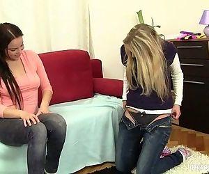 Chesty lesbian teens Lara and Mia..