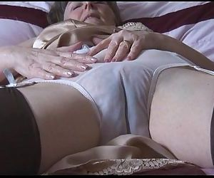 Fur covered granny in glide and tights with witness thru panties strips - 7 min