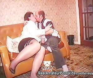 An older fat housewife in stckings is fucked by two men and take facials
