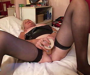 Old Dutch granny showing her soaking wet cunt