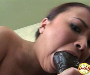 Skinny light skinned tiny asian deep fucked by big black fat cock in mouth - 14 min HD