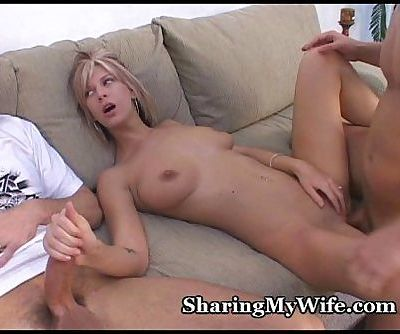 Hubby Shares Wife With Friend - 5 min
