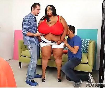 Huge Tit Ebony BBW Cotton Candi Gets Double Teamed 5 min