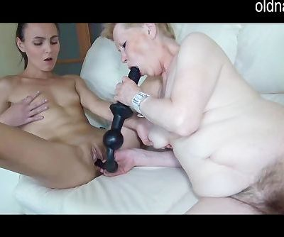 Old mature and young woman fingering and toys playing