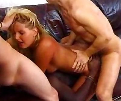 Blond whore takes three cocks
