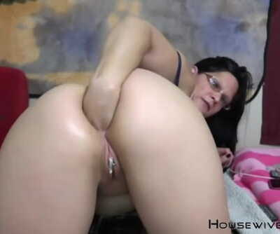 Horny mother devil with small tits fisting and gagging