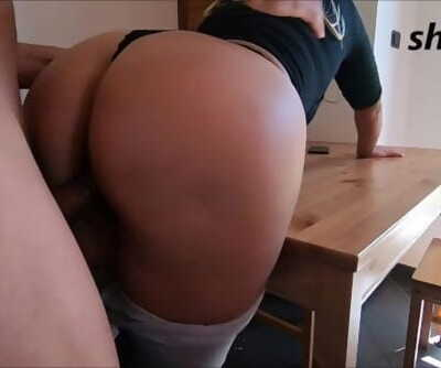 stepson cums inside step mother, with a nice round ass...