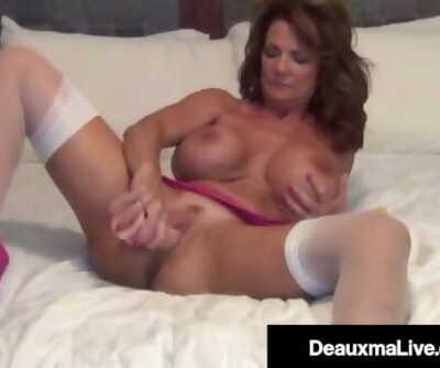 Busty Cougar Deauxma Stuffs Her Ass With A Butt Plug & Cums!