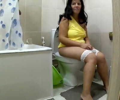 Mom was in the toilet when her stepson was taking a shower. Mom & son anal