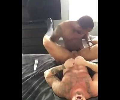 Black Muscle Friend Fucking my Tight White Hole