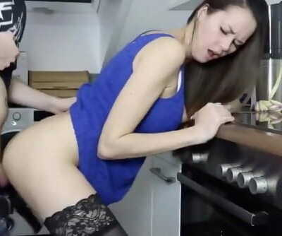 German Amateur Brunette Kitchen Fuck