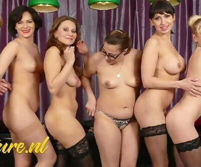 Horny Housewives Playing Pool and Fucking each other with Cue Sticks