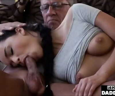 Old Man Taboo Fucks his Step Sons Girlfriend in same Room