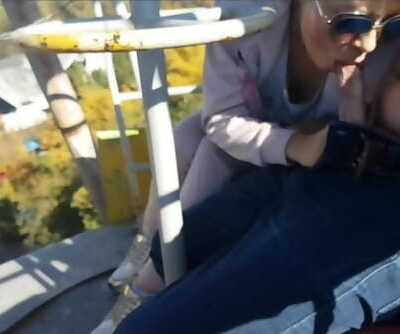 Extreme Public Blowjob and Cum Swallow from Dirty MILF on the Ferris Wheel
