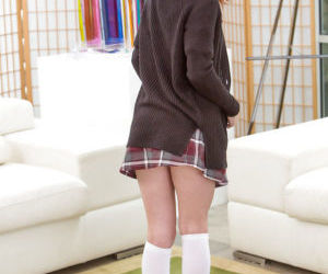 Schoolgirl Alice Green shows off..
