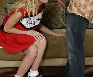 Lewd cheerleader gets shagged and..