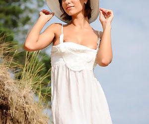 Beach babe Suzanna A in dress..