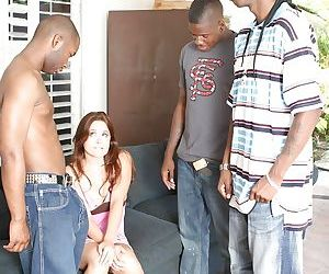 Interracial gangbang with slender..