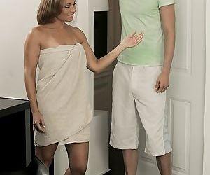 Mature woman gives teen..