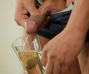 Sexy blonde indulges in hot pee..