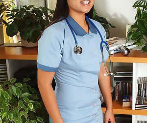 Asian amateur sheds nurse uniform..