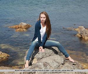 Skinny girl Milena D sheds jeans..