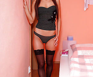Hot teen in stockings taking off..