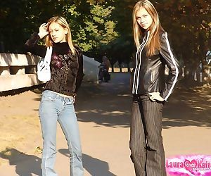 Hot teen lesbian coeds flash tiny..
