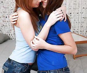 Topnotch lesbian teens Ava and..