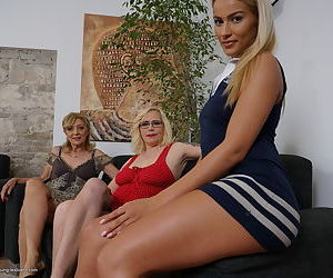 Mature blonde women coerce a..