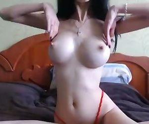 Sexy slim busty camgirl