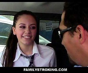 Tiny Latina Step Daughter Sucks..