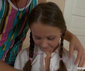 Pigtailed teen Liza gets ass..