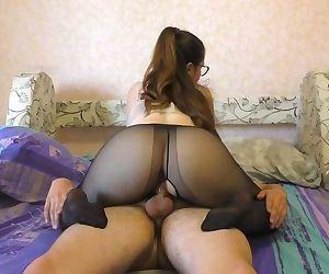 Teen Big Ass in Nylon Pantyhose..