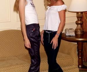 Skinny lesbian Ashley & GF pet..