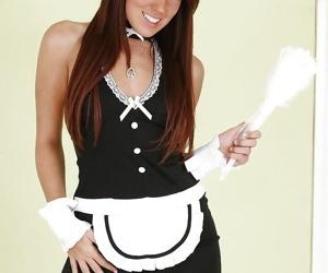 Perky brunette maid in stockings..
