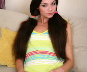 Long haired teen Mimi is relived..