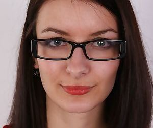 Pretty glasses clad brunette..