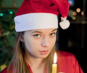 Skinny teen in Christmas lingerie..