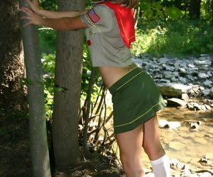 Naughty teen girl teases next to..