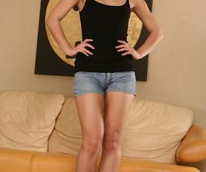 Latina amateur in denim shorts is..