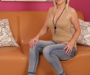 Amateur model in jeans and high..