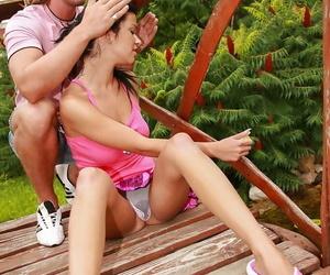 Brunette teen exposes big tits..