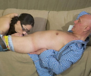 Nerdy young girl swallows an old..