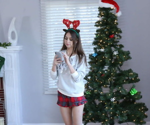 Tiny teen girl Riley Reid strips..