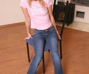Slim teenage blondie in blue..
