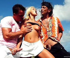 Blonde nikki sun in short white skirt gets double teamed..